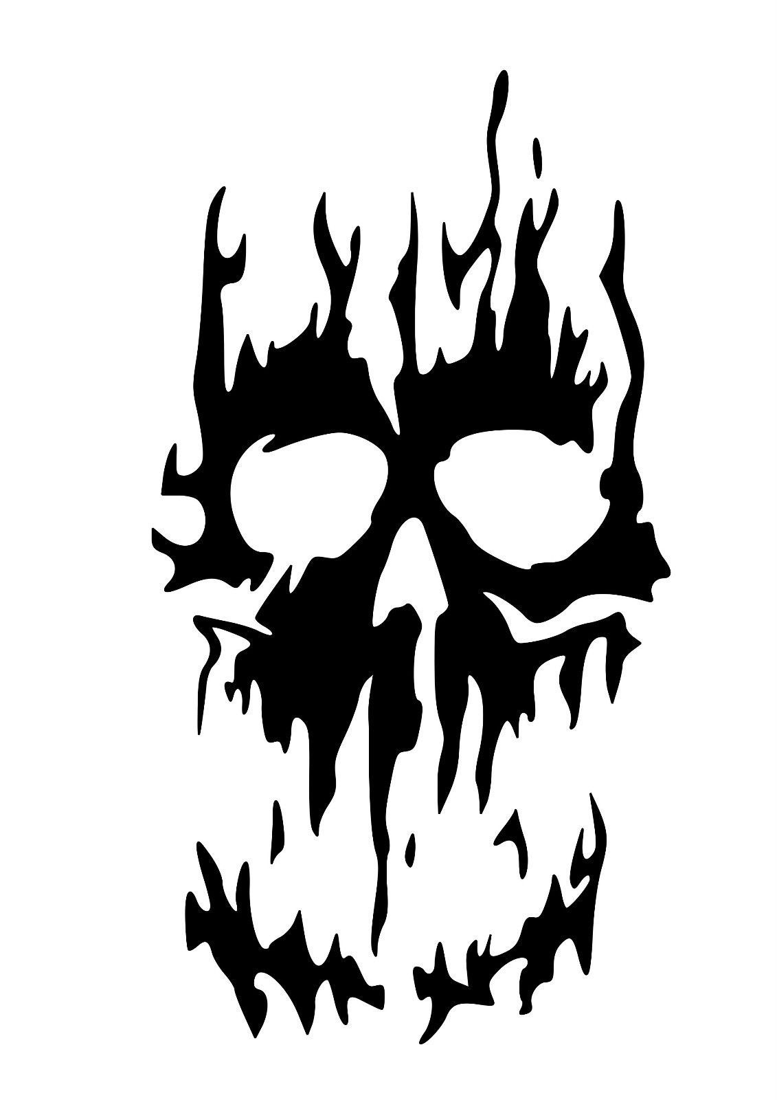 High detail flaming skull airbrush stencil free uk