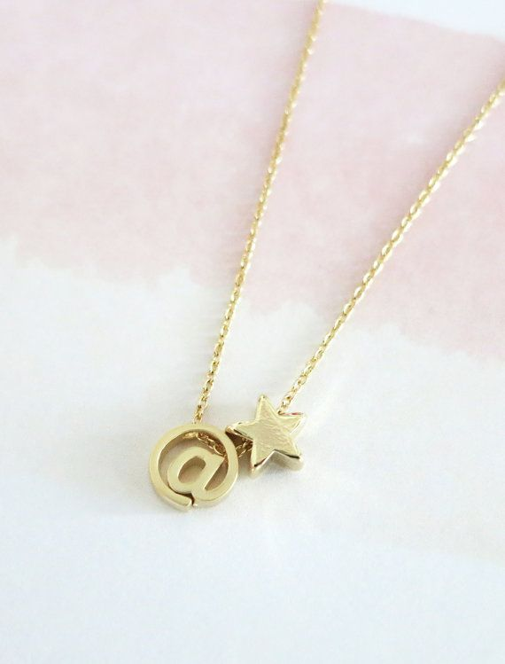 Star Necklace Petite Gold Star Symbol Free Floating On A Gold
