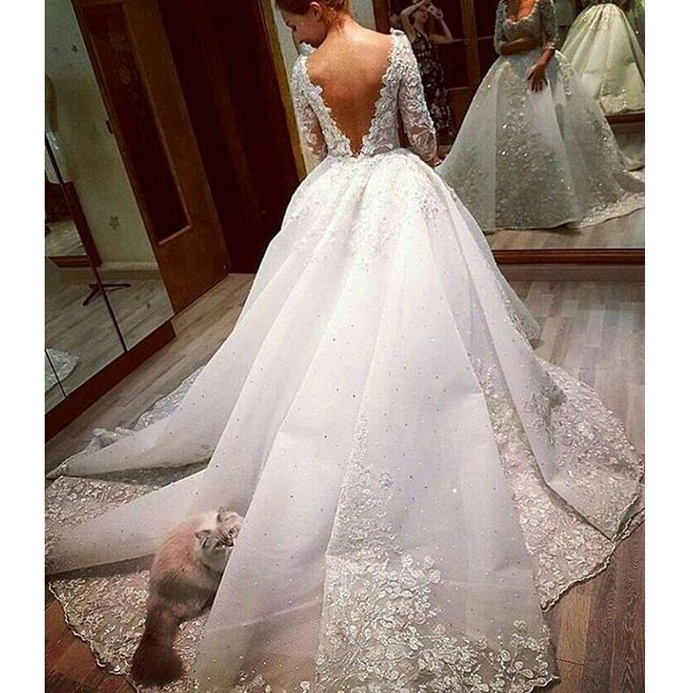 Amazing vestidos de novia special lace wedding dress with veil long
