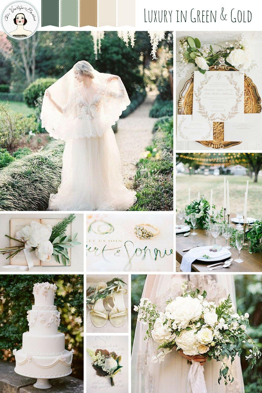 Romantic Wedding Inspiration Board in of Green & Gold | Romantic ...