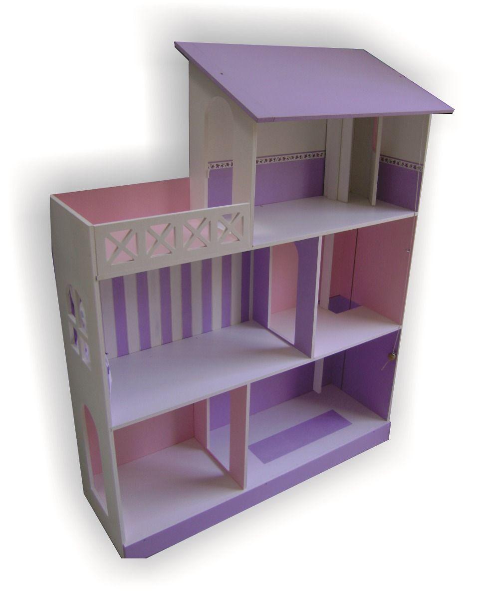 Casita De Mu Ecas Barbie Con Ascensor Y Terraza Pintada  # Muebles Fibrofacil Para Casa Munecas