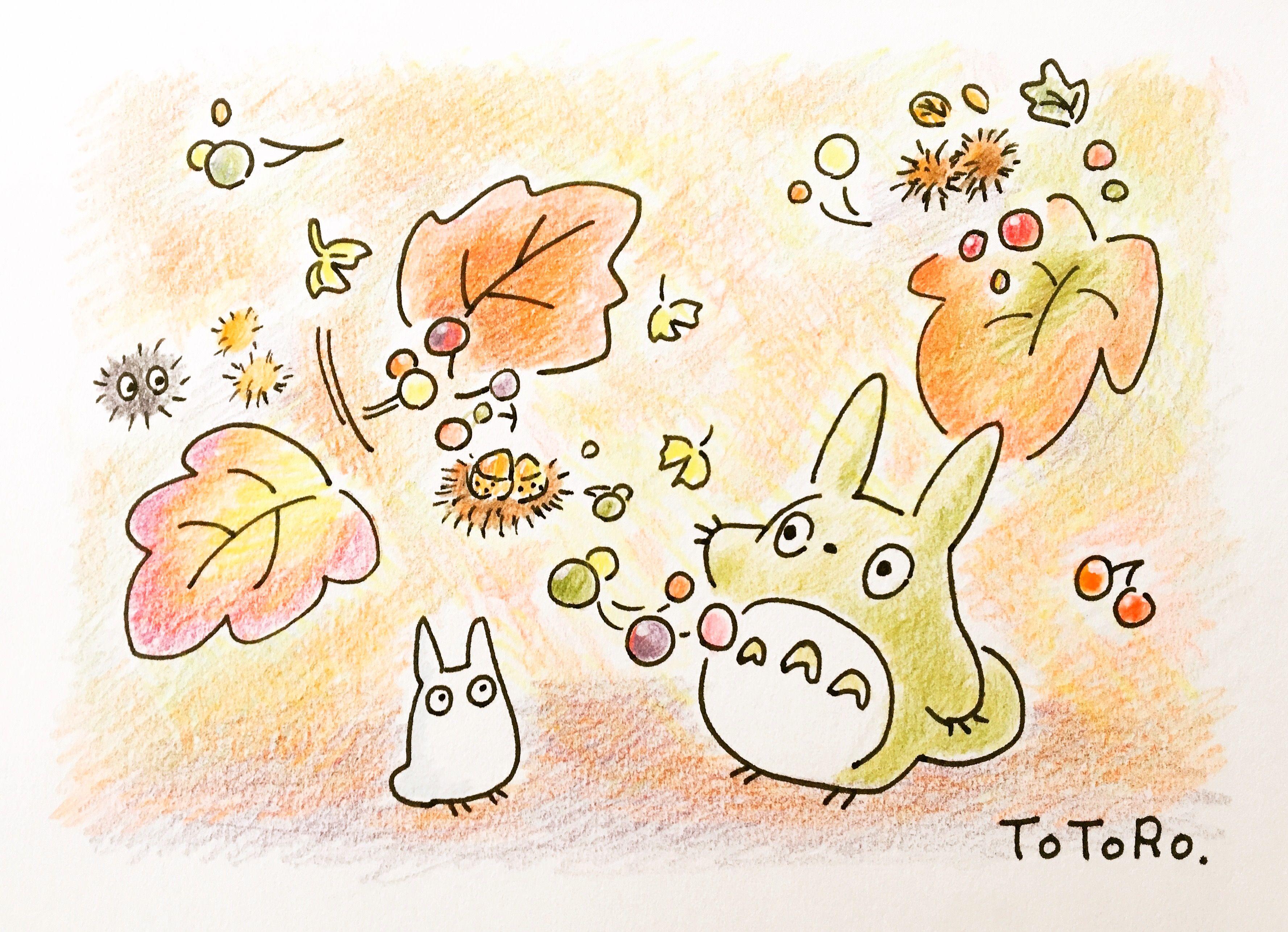 となりのトトロ 色鉛筆 落書き Ghibli Totoro Colorpencil イラスト 手書き トトロ かわいいイラスト