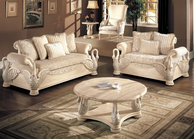 Avignon Antique White Swan Motif Luxury Formal Living Room Furniture ...