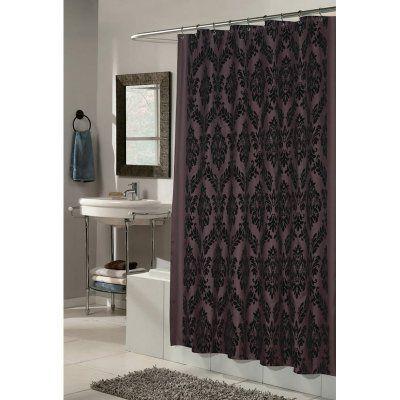 Carnation Home Fashions Regal Damask Fabric Shower Curtain Black Brown