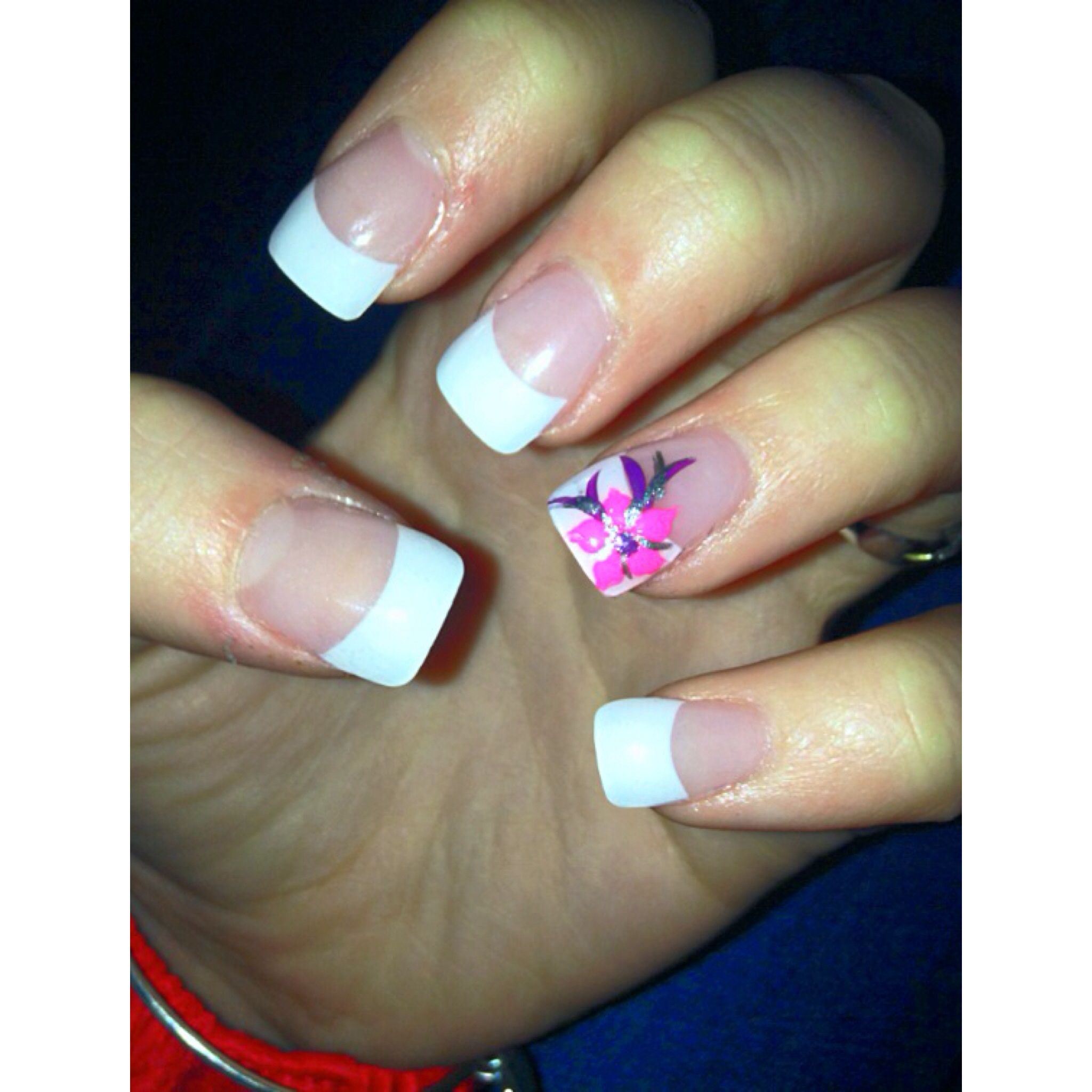 White Tip Acrylic Nails - French Tips with Flower (Pink and Purple ...