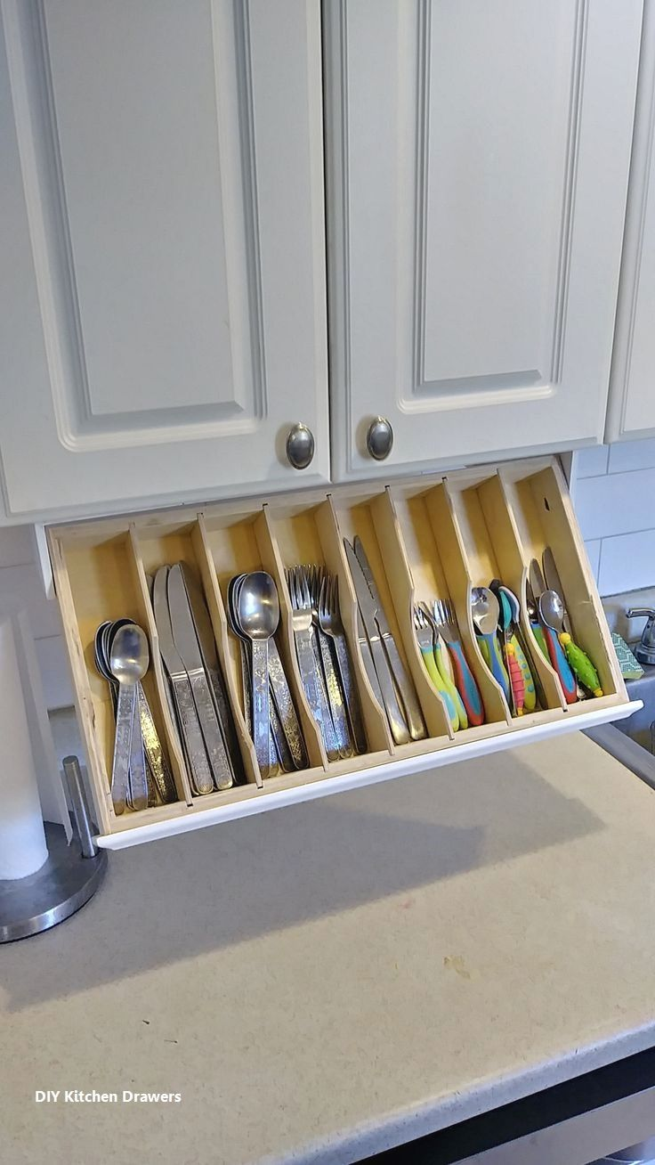 Diy Kitchen Drawer Organizer Ideas In 2020 Kitchen Drawer Organization Small Kitchen Storage Under Cabinet Storage