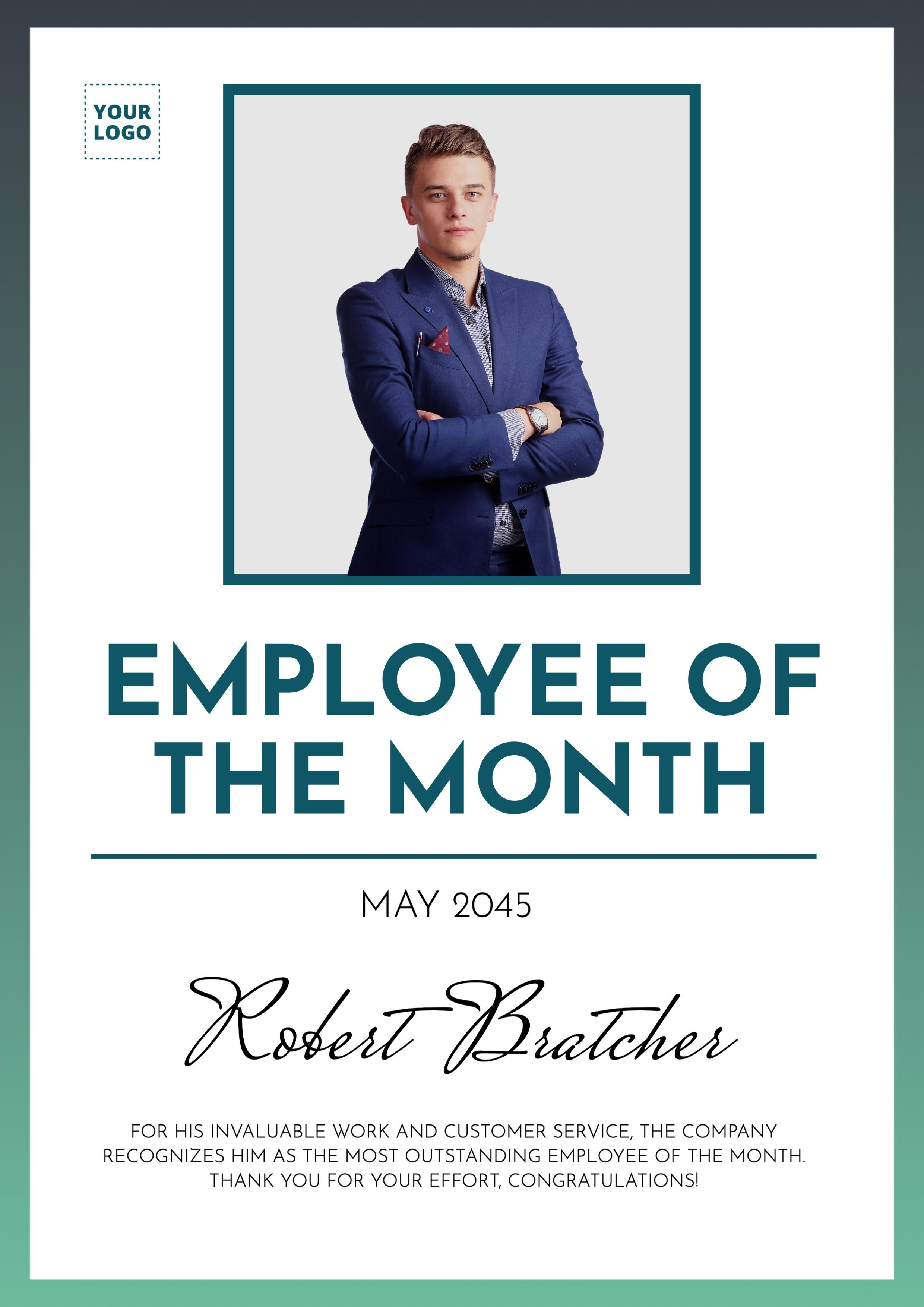 Custom Poster Of Employee Of The Month Employee Recognition Board Employee Services Certificate