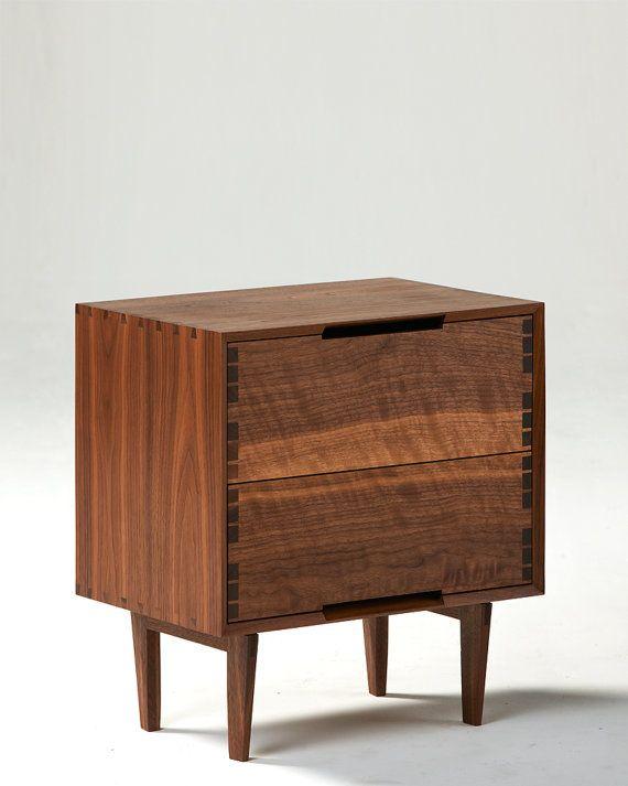 Danish Modern Bedroom Furniture: Danish Modern Inspired Walnut Night Stand / Side By