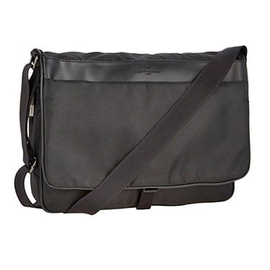 Black business laptop bag  Item No. 0830105196  From Jeff Banks comes this classic design black textured laptop bag. It features a cross body strap, a buckle fastening and additional back and front zip pockets.    Was £40.00 > Now £32.00
