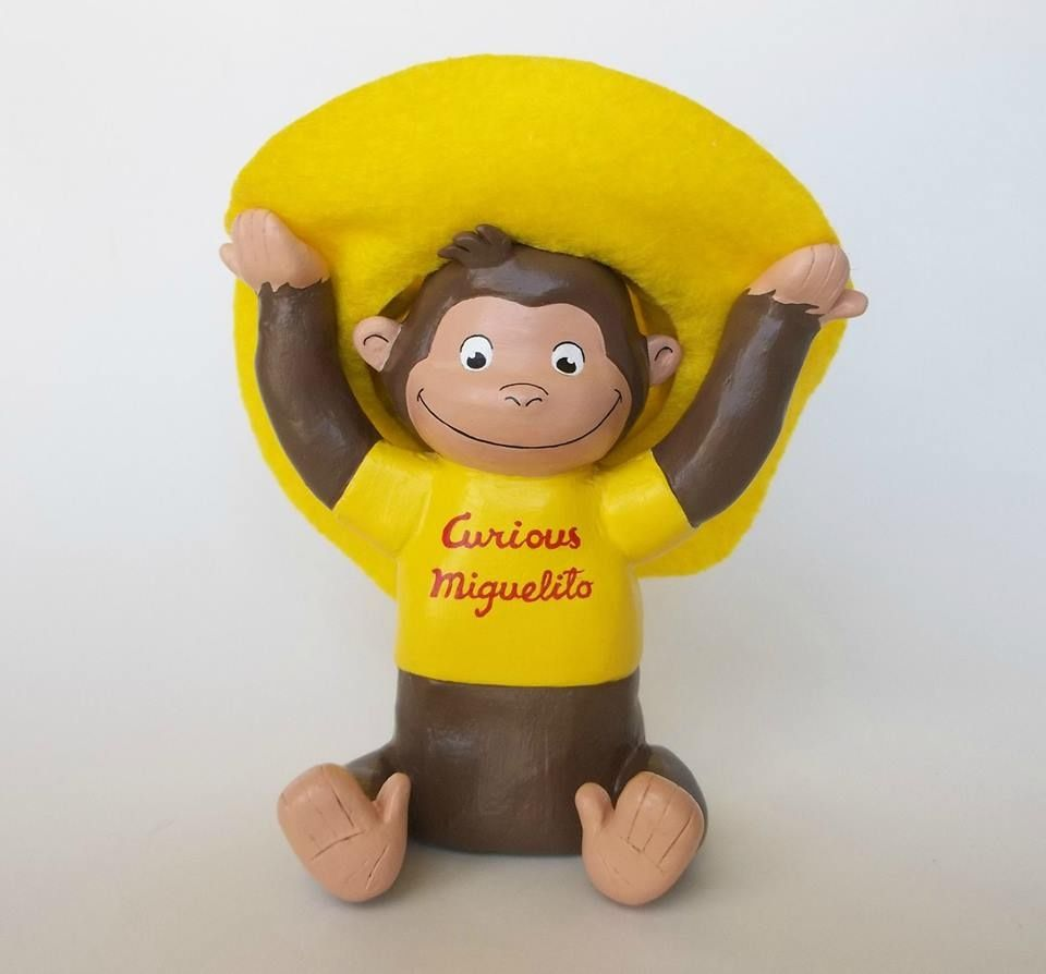 curious george paper mache figurine customized paper
