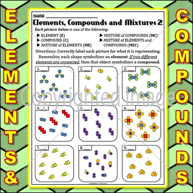Worksheet: Elements and Compounds 4 | Compounds, mixtures ...