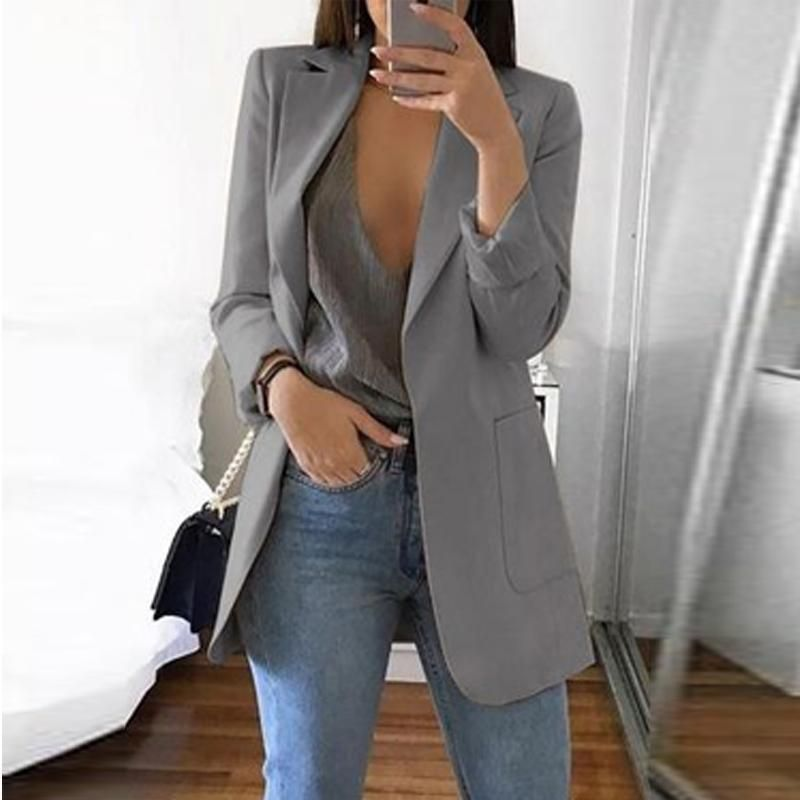 Solid Color Long-Sleeve Pocket Suit Jacket