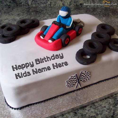 Write Name On Car Birthday Cake For Kids Picture