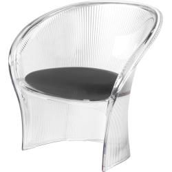 Photo of Magis Flower armchair, colorless transparent, seat cushion made of weatherproof fabric in green MagisMagis