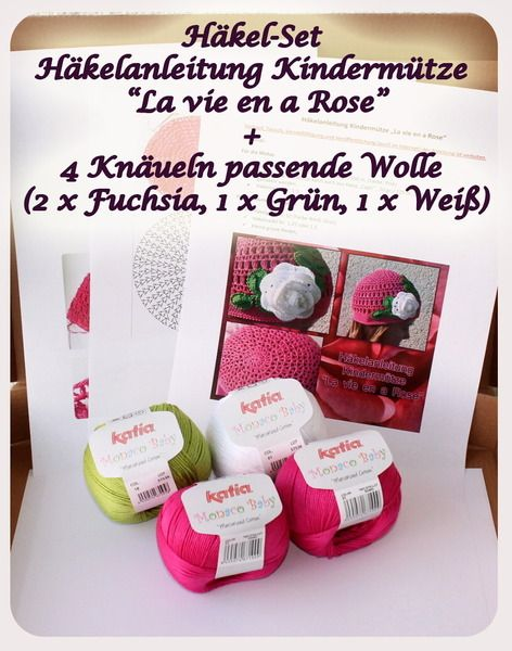 "Häkel-Set: Anleitung ""La vie en Rose"" + 4 Knäueln von Häkelteufel´s Küche auf DaWanda.com"