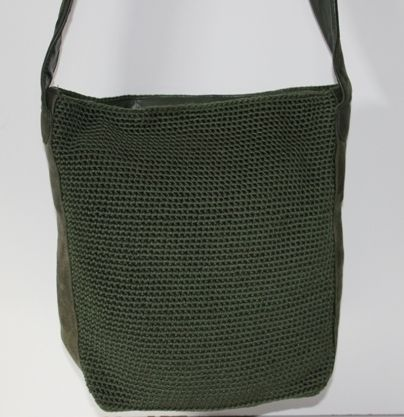 Sak - Green Crochet & Suede Tote You can find this item and more on www.handbagconsignmentshop.com