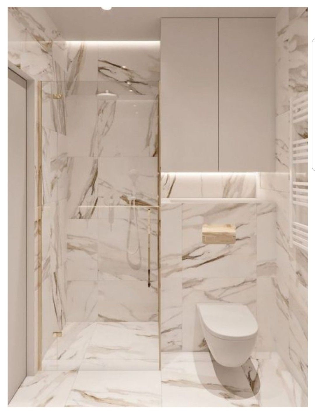 Marble Tiles And Gold Accents For A Very Luxe Bathroom