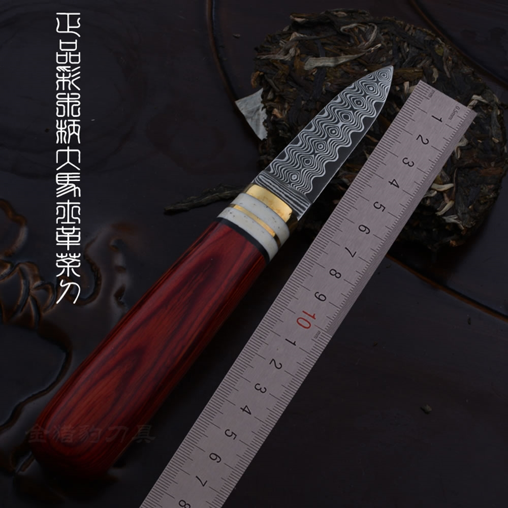 85.00$  Buy now - http://ali8dq.worldwells.pw/go.php?t=32745840977 - Damascus color wood handle tea knife special tool 85.00$