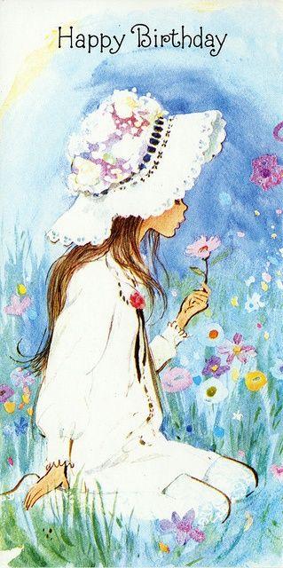 Imagen Vintage Nina Con Flores Felicitacion Cumple Happy