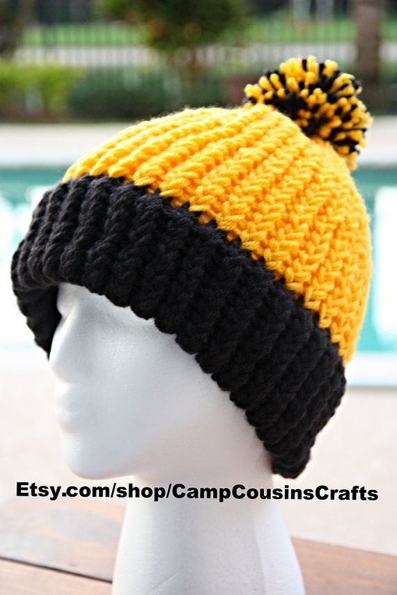 834a4189b6ab10 black and yellow knit hat | PITTSBURGH STEELERS knit hat, yellow knit hat,  black knit hat,beanie .