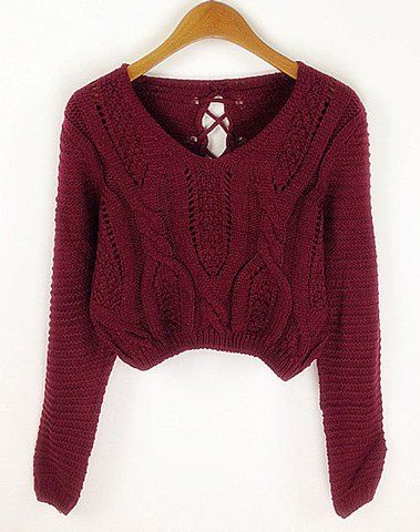 Long Sleeves V-Neck Cable Knit Openwork Dropped-Waist Sexy Women's ...