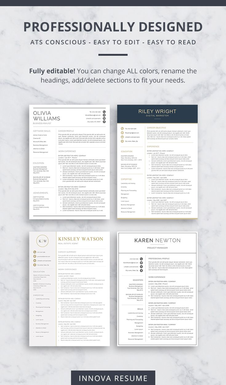 ATSFriendly Resume Templates in 2020 Resume templates