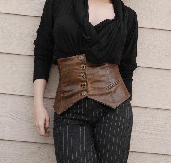 Distressed Leather Corseted Belt Corset Half Vest Steampunk
