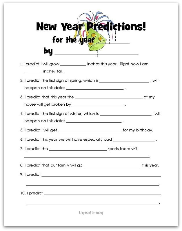New Year Predictions Layers Of Learning New Years Activities New Year S Eve Activities Kids New Years Eve