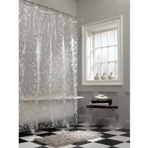Frosted White Ice Circles On Clear Vinyl Shower Curtain $14