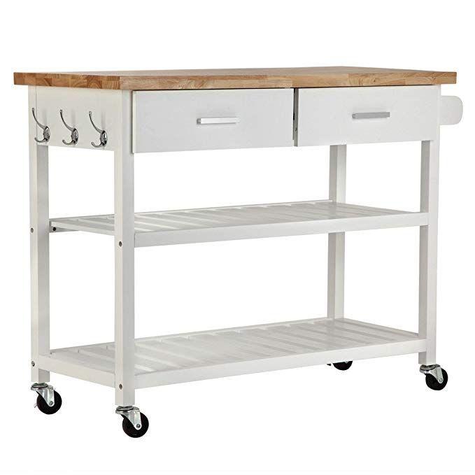 NEW Open Storage White, Kitchen Deluxe Kitchen Storage Cart Island w