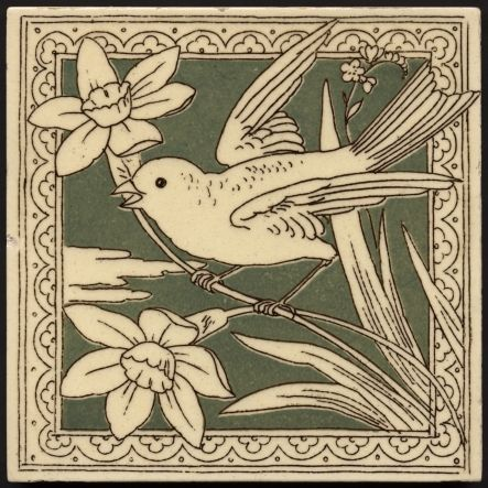 Fine drawn bird and flowers, cream on green background, with frame. Minton Hollins aesthetic bird printed tile. c1880.