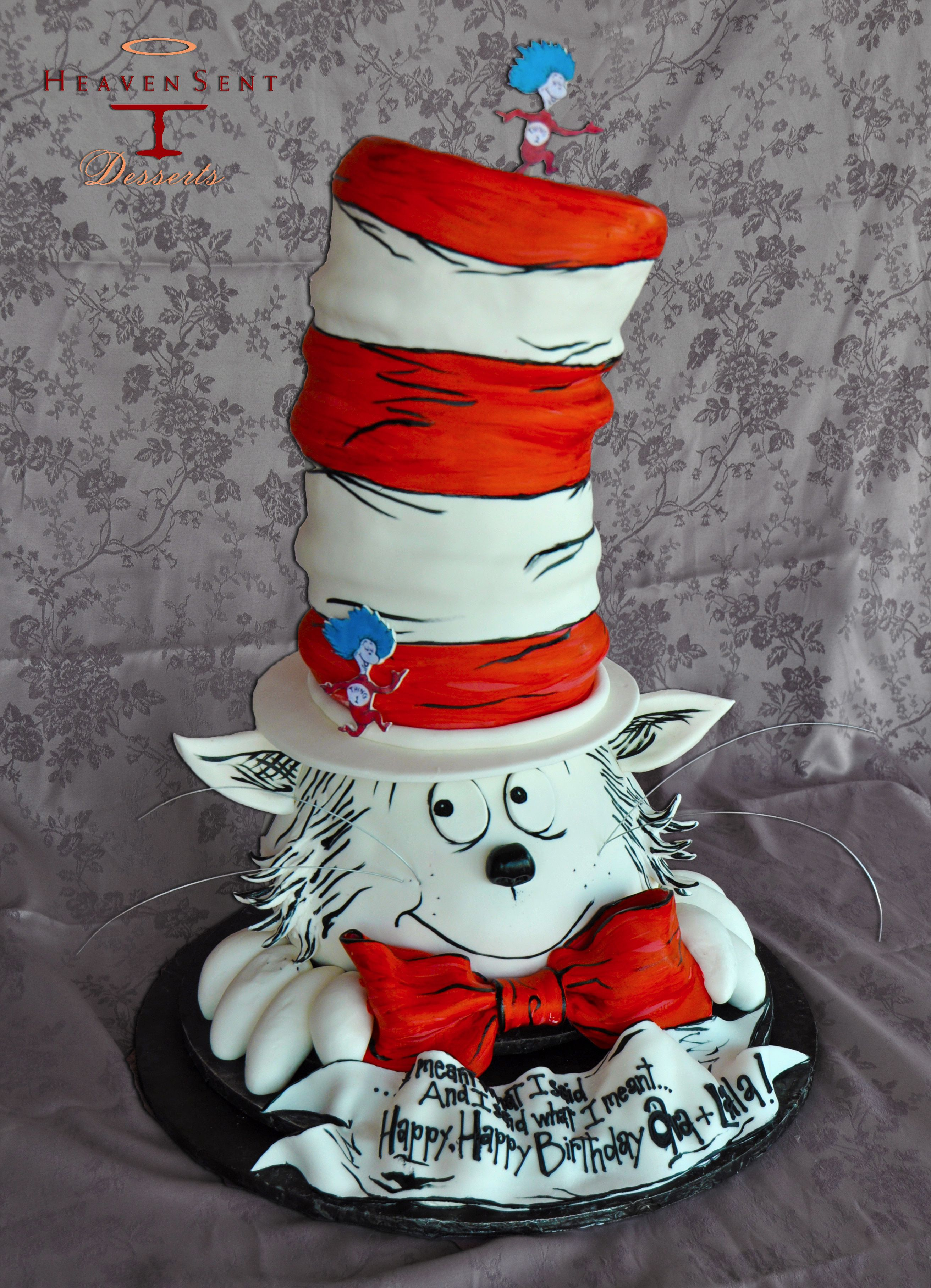 Cat in the hat birthday cake seuss cakes kids themed
