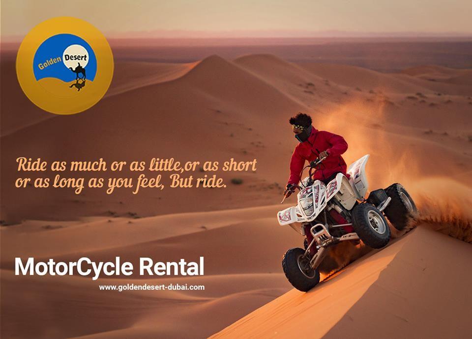 Golden Desert Quad Bike Dubai Motorcycle Rental Ride As Much Or