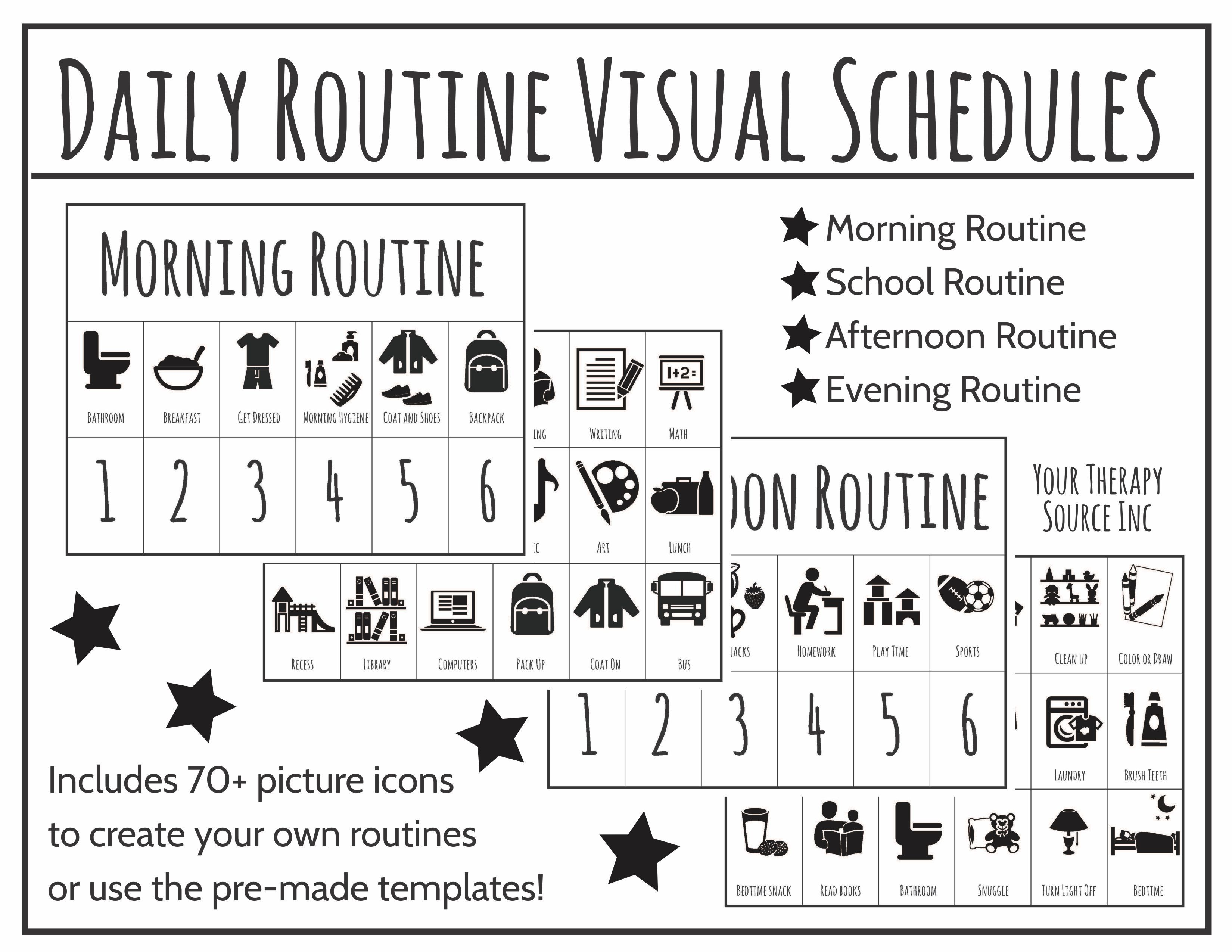 daily routine visual schedules adhd executive functioning spd