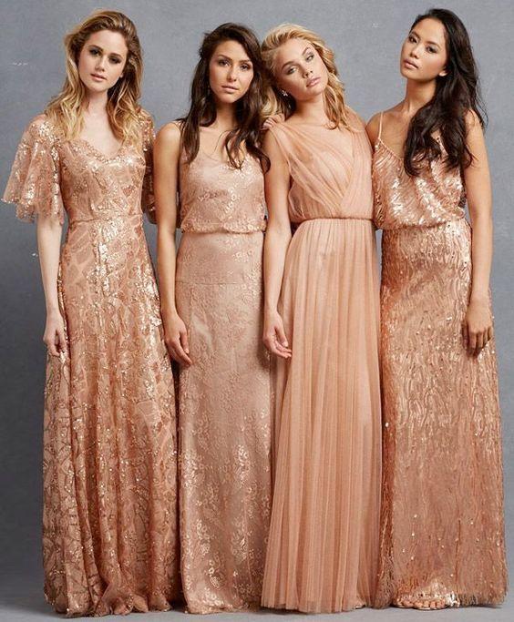 Teal and Copper Wedding Color Ideas + Copper Bridesmaids Dresses ... de33c3edae1a