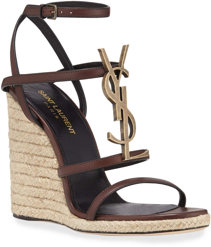 6898fb73a35 Cassandra Wedge Espadrilles with Golden YSL Logo in 2019   Products ...