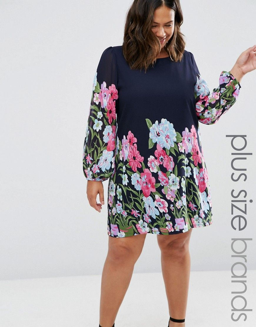 Yumi Plus Shift Dress In Floral Border Print - Navy. Plus