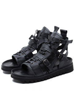 Black Leather Military Boots Mens Roman