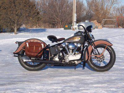 1937 Harley Davidson Knuckelhead Outside In Snow Classic Harley