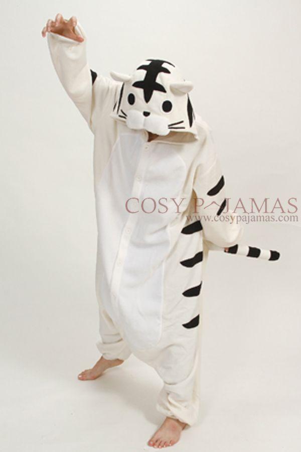 daa730a2df69 Animal Onesies White Tiger Onesie Kigurumi Pajamas