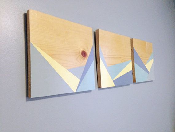 Christmas Gift! Geometric wood wall art, triptych wall decor ...