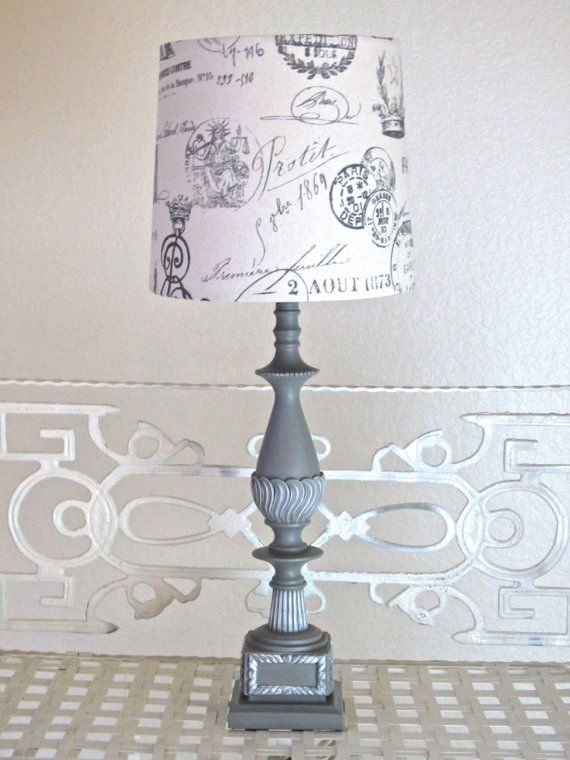 Vintage look table lamp french provincial taupe gray french style vintage look table lamp french provincial taupe gray french style hand made lampshade hand painted annie aloadofball Image collections