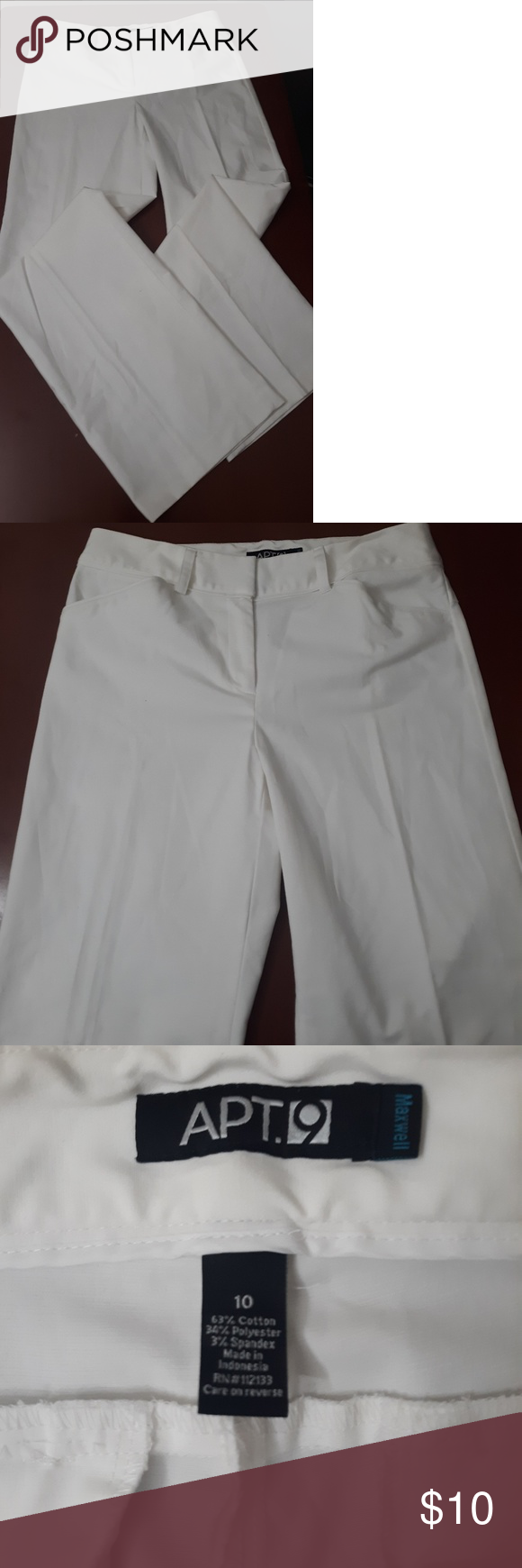 APT 9 white slacks  size 10 White slacks Apt. 9 Pants Wide Leg #whiteslacks APT 9 white slacks  size 10 White slacks Apt. 9 Pants Wide Leg #whiteslacks
