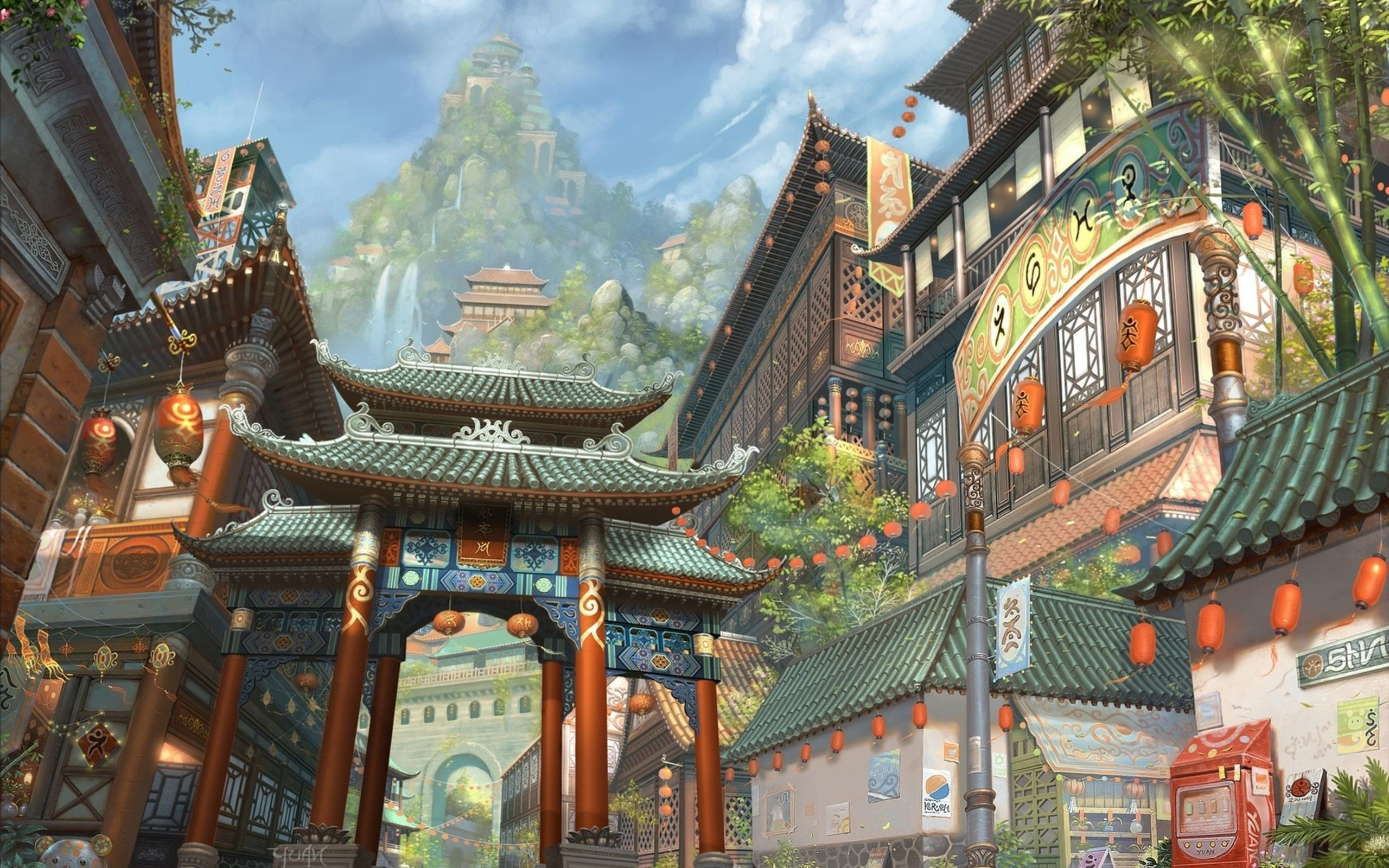 Japanese Art Painting Fantasy Wallpaper For Desktop And Mobile In High Resolution Free Download We Have Best C Fantasy Concept Art City Scene Japanese Fantasy