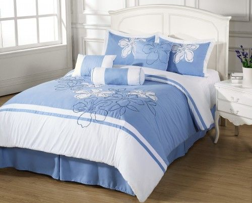 7pc Comforter Set Applique Embroidery Light Blue White Floral