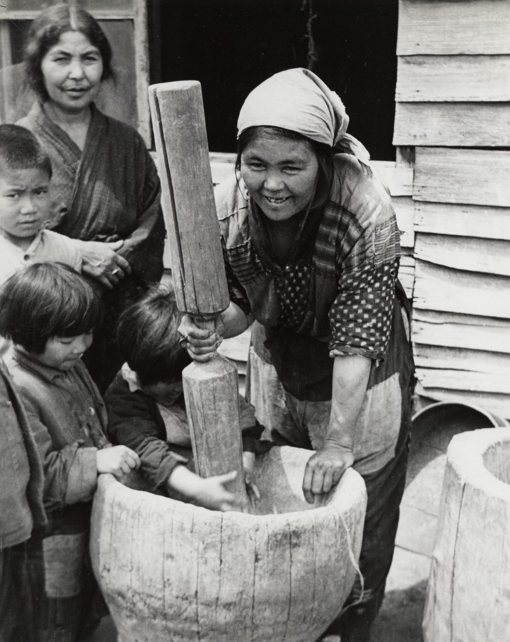Ainu rice mortar, made from a hollowed-out sugi (cryptomeria) log, 1948 by John W. Bennett