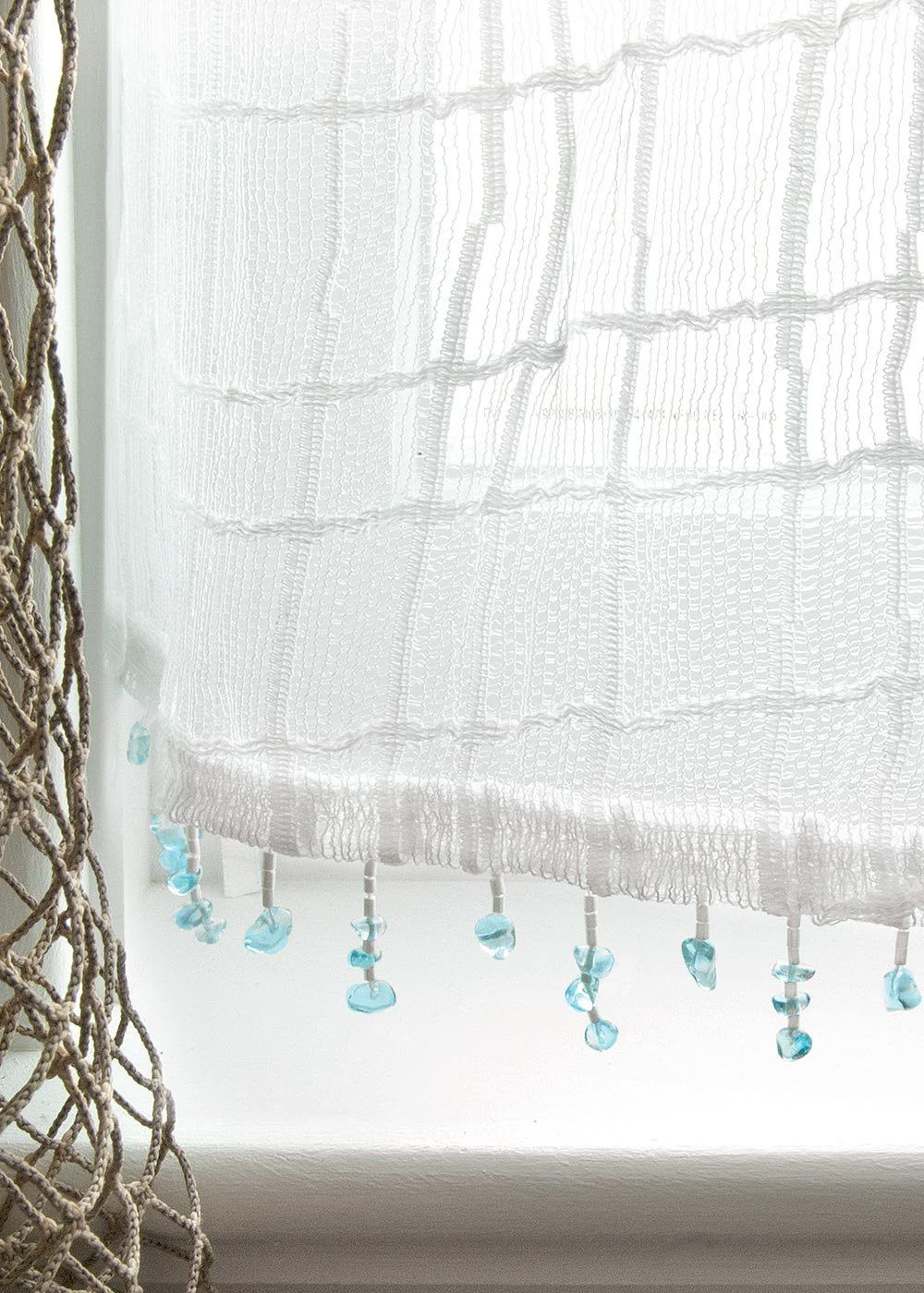 Sea Splash Netting Sheer Curtains In 2019 Beach Cottage