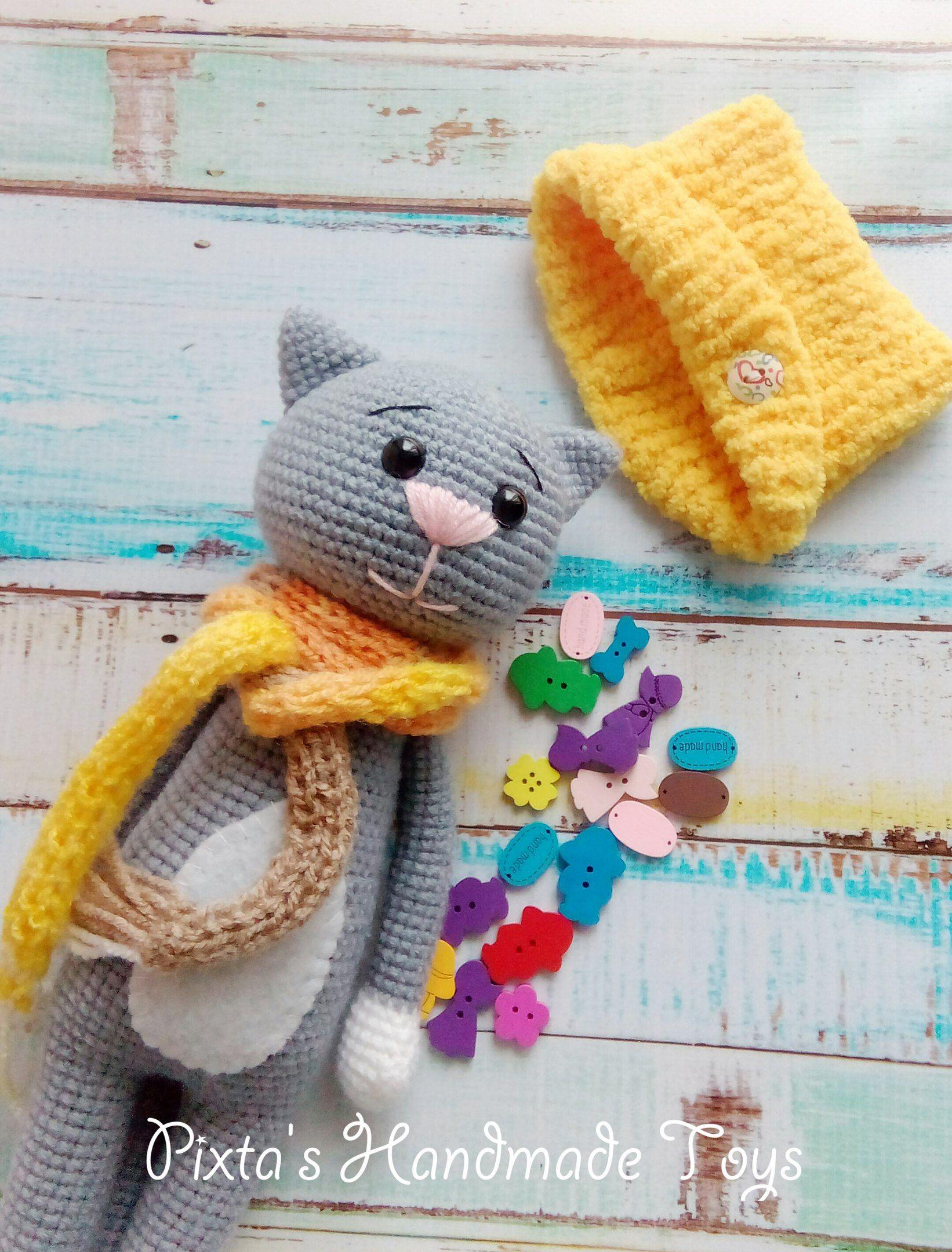 вязание крючком котенок описание