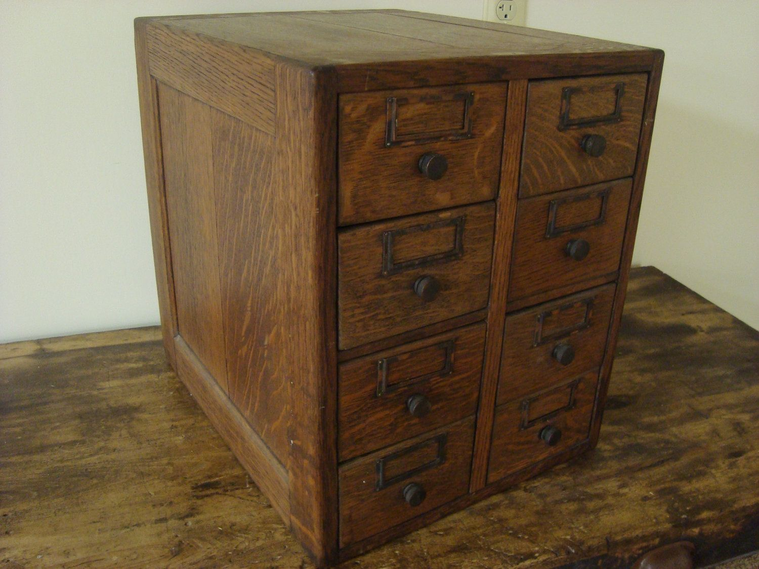 Antique Oak Library Card Catalog 8 Drawer File Recipe Box