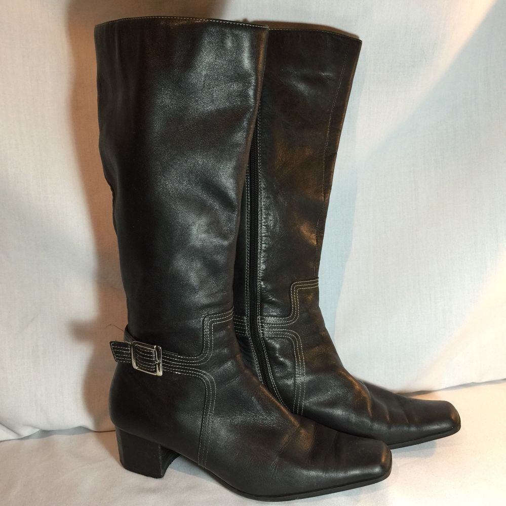 ANNE KLEIN BLACK LEATHER KNEE HIGH BOOTS SZ 10M SILVER BUCKLE #AnneKlein #MidCalfBoots